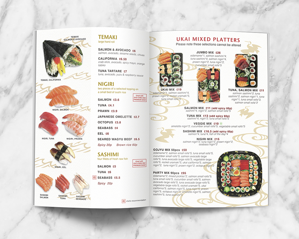 Menu design for Japanese Restaurant