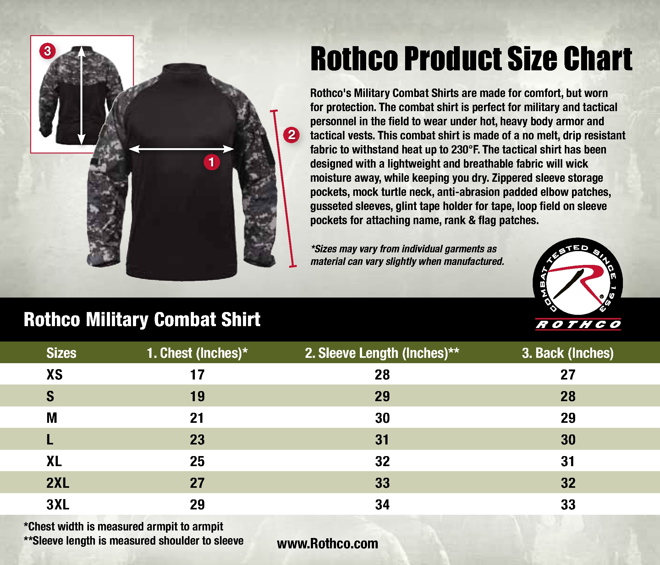 4edb024c Upgrade your plan to publish Form Builder with paid features. Remove paid  features to publish Form Builder for free. Rothco Military Combat Shirt Size
