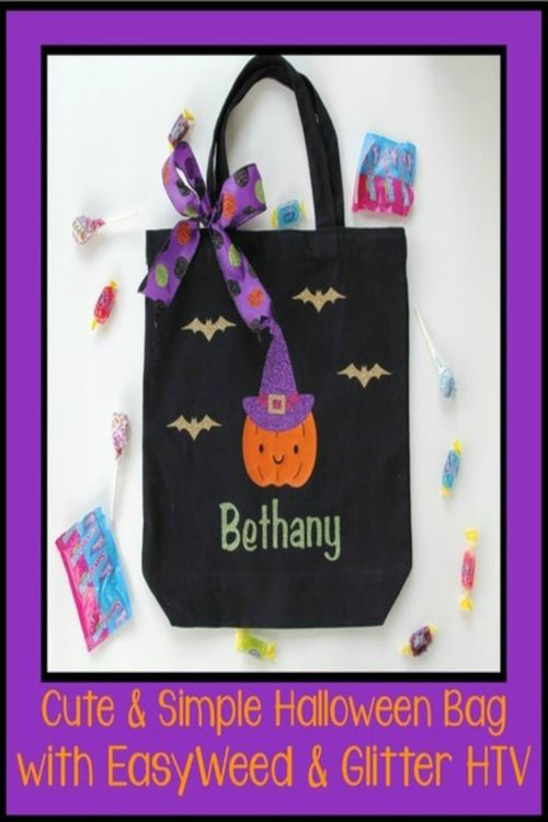 1117b52d31 Cut and simple Halloween bag with easyweed and glitter HTV. How to make a  cute