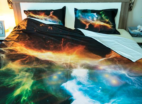space abstract art complete bedding set set includes a duvet cover a set of 2 matching pillow covers and sateen fitted sheeet - Space Bedroom