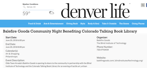 Balefire Goods Community Night Benefiting Colorado Talking Book Library