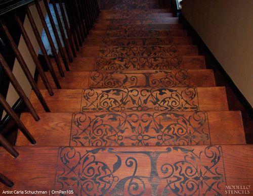 Stenciled Stair Ideas
