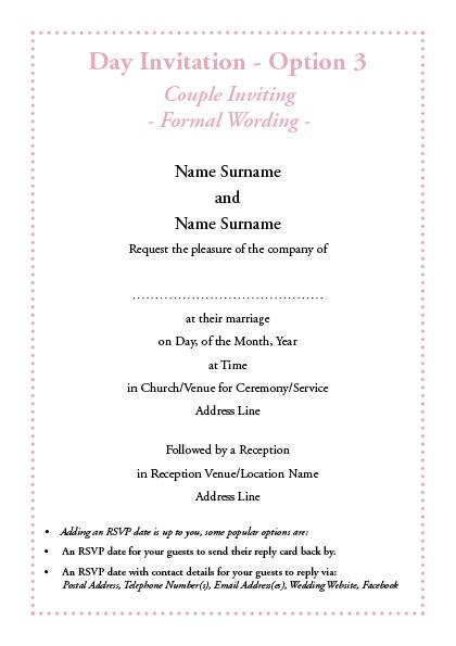 Invitation Wording – Elegance ie