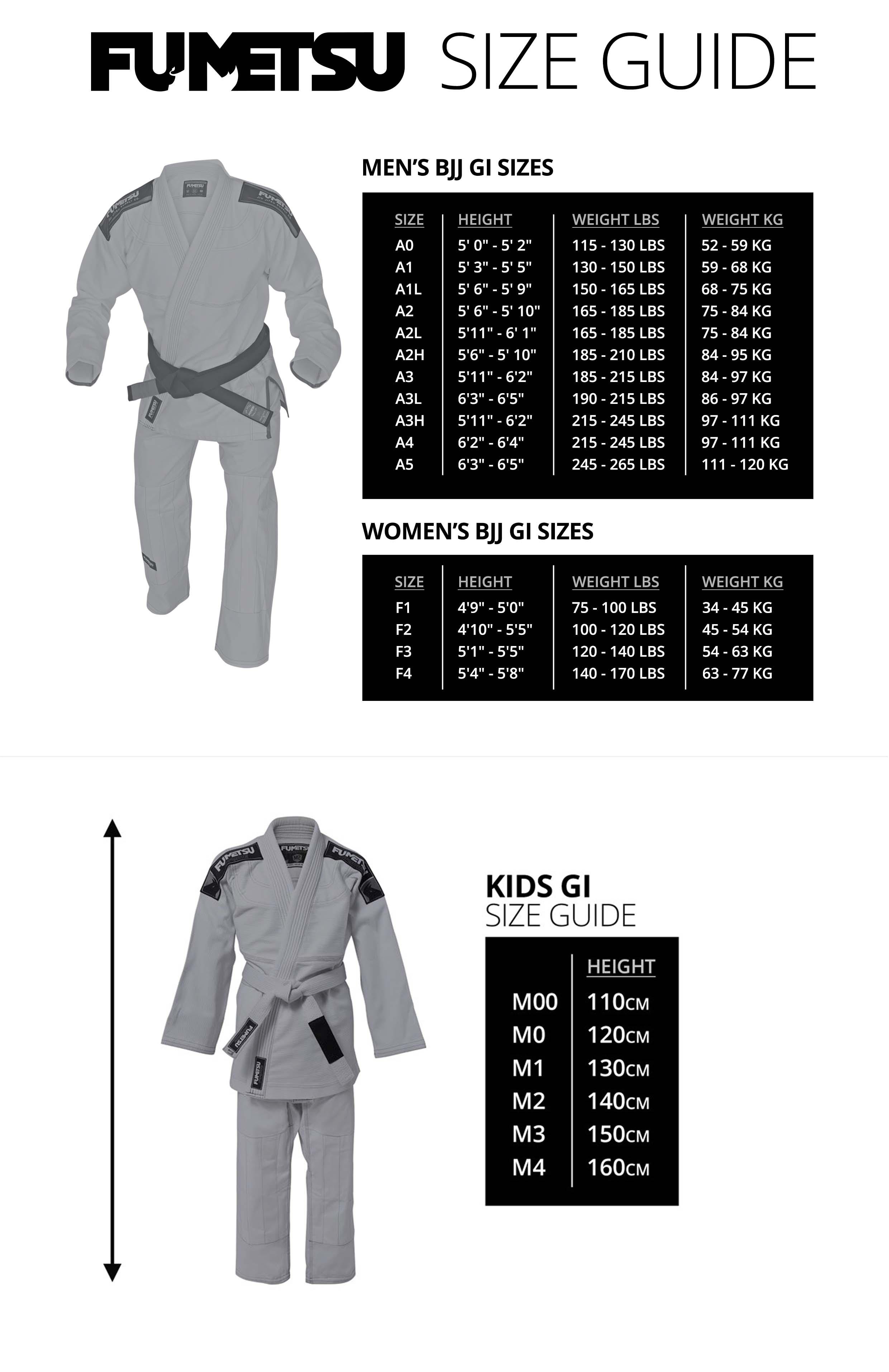 Fumetsi GI Size Guide