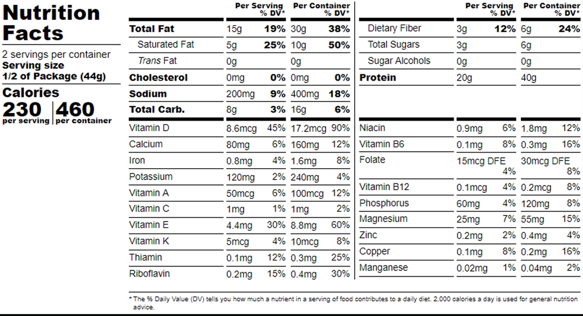 GRIT High Performance Crunchy Chocolate Snack - Nutrition Facts