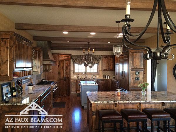faux wood ceiling beam in kitchen