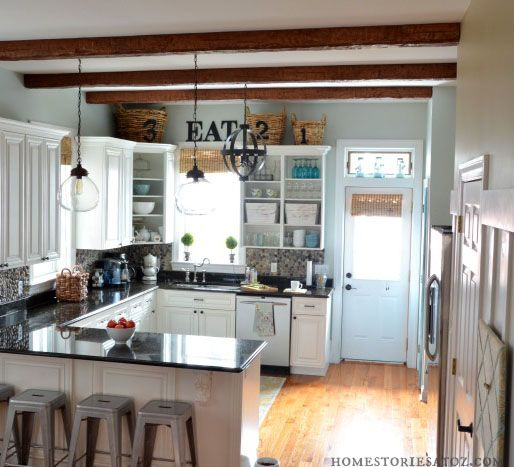 faux wood beam in kitchen